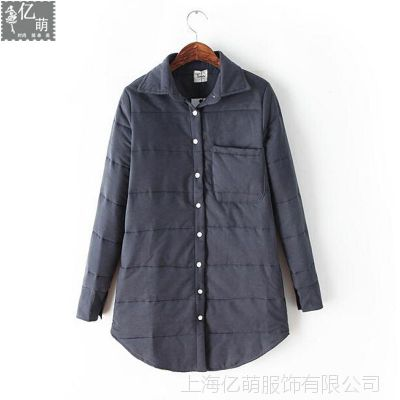2014秋冬新款 韩国代购款暗纹休闲保暖加厚中长女衬衫6170