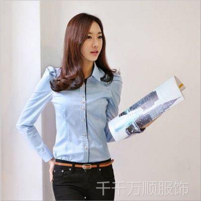 供应2014秋韩版拼色女士衬衣职业时尚通勤修身长袖衬衫批发免费加盟