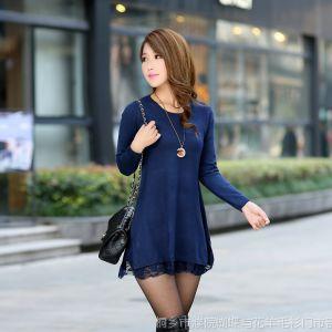 供应【伙拼】濮院新款春女式毛衣 羊毛衫中长款打底衫 宽松针织衫女装