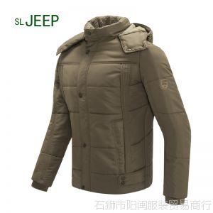 供应索拉吉普SL JEEP男装外套加绒厚棉衣 男式可脱卸帽休闲 男式棉服