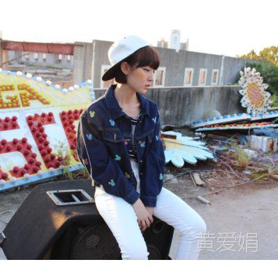 韩版清纯学院风印米奇可爱短装牛仔外套