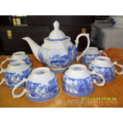 7件套《清明上河图.》釉中彩骨瓷茶具,画面清新古朴,厂家直销