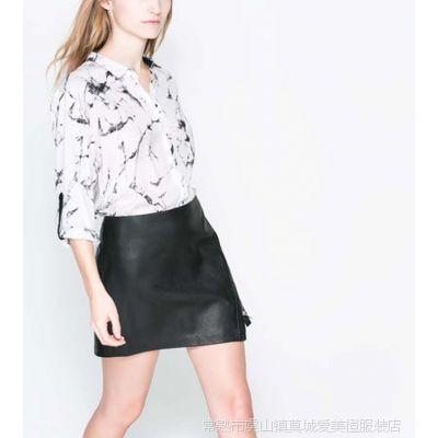 2014春装新款白色衬衫女宽松打底衫轻薄水墨衬衫女B1-688