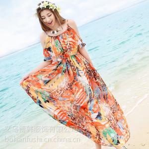 供应甜蜜沙滩2013新款雪纺连衣裙大裙摆拖地长裙吊带沙滩裙海边碎花裙