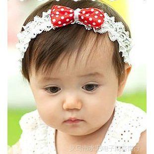 新款 宝宝圆点蝴蝶结发带 儿童头饰 公主发饰 女童头带小饰品