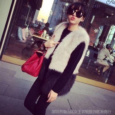 2014秋冬新款仿狐狸毛皮草外套中长款撞色马甲女装背心
