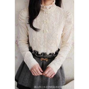 供应秋冬女装韩国名媛公主风立领玫瑰花刺绣长袖加厚蕾丝衫打底衫Y208