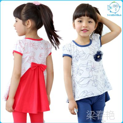 韩版女童套装 印花蝴蝶结短袖T恤打底裤套装 夏装新款特价童套装