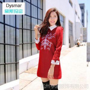 供应Dysmar2014春装新款韩版刺绣翻领修身连衣裙 呢子打底短裙女批发
