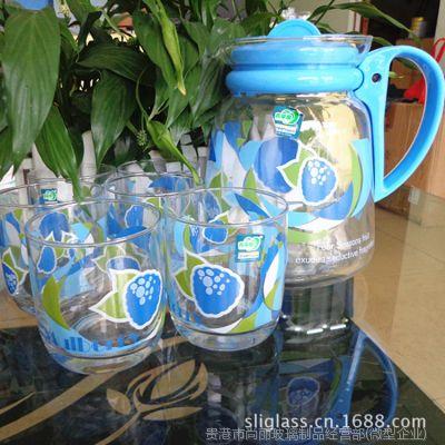 青苹果玻璃凉水壶  冷水壶套装7件套   透明印花玻璃水壶杯子
