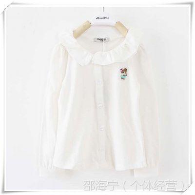 801外贸童装 韩国小熊原单专柜 春秋款翻领纯棉女童长袖衬衫 衬衣