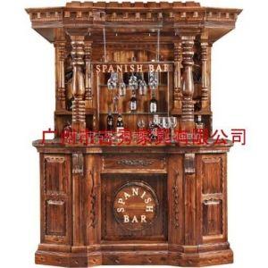 供应广州仿古木质酒吧屋,带顶实木古典风格吧台配酒柜