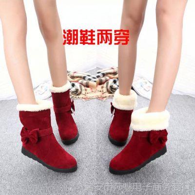 厂家直销2014秋冬新款坡跟马丁靴折翻中筒靴拉链雪地靴女靴子