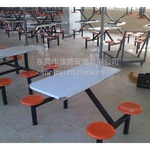 供应四人位玻璃钢连体快餐桌椅靠背椅款 食堂餐厅桌椅工厂直销定制