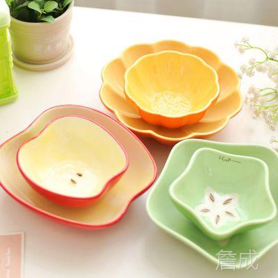 一优 萌厨乐园水果蔬菜 陶瓷可爱创意餐具套装碗盘韩式碗卡通盘子图片