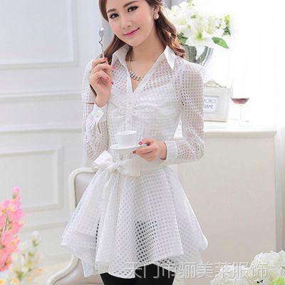 白色衬衫 女 长袖粉大布白色2015春季衬衣 女 透视纱长款衬衫