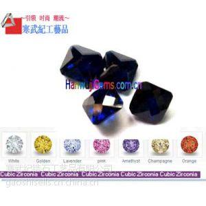 供应彩色白色直角倒角正方形锆石批发AAA级质量 人造宝石批发 多种等级颜色 可提供样品