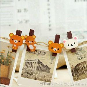 供应创意家居 可爱轻松熊木质夹子 悬挂照片墙夹子 零食夹 票据夹K06