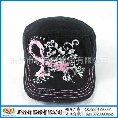 帽子厂定制 时尚淑女户外遮阳平顶帽 花卉绣花烫钻工艺鸭舌帽