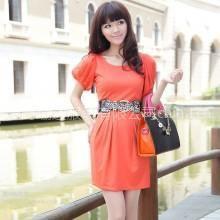 供应杭派女装 2012夏装新款 甜美气质抽摺袖连衣裙BLC1207