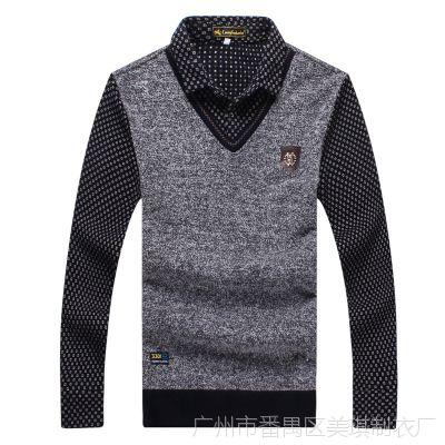 冬男士羊绒衫中年假两件套毛衣加绒加厚保暖衬衫领针织羊毛衫A323