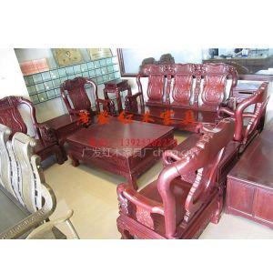 供应【广发红木】红木家具/实木家具/红花梨/如意象头沙发10件套