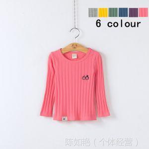 供应C355童装批发 2014春季新款韩版男女童条纹纯棉长袖T恤打底衫