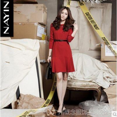 供应娜茵大码女装2014春季新款韩版针织棉长袖修身连衣裙红色1061