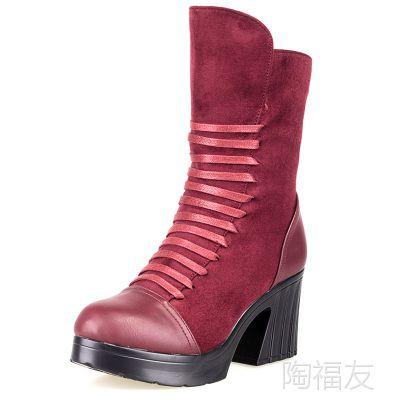 批发新款老北京布鞋 女靴子中跟高靴子毛绒保暖鞋雪地靴中筒靴