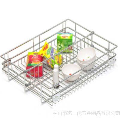 厂家定制 不锈钢隔篮 单层不锈钢拉篮 陶瓷碗碟套装拉篮 内外销