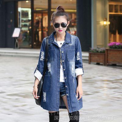 秋冬新款女装街头长款磨白磨破牛仔外套时尚翻领单排扣直筒女外套