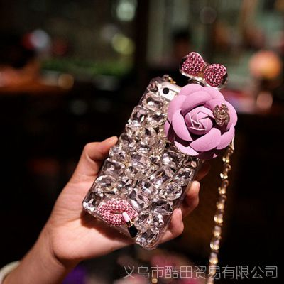 香水瓶tpu硅胶宝石皮革花手机壳苹果三星钻壳iphone6手机套贴钻