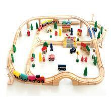 淘宝网玩具火车超长轨道 木质火车轨道套装儿童轨道火车益智玩具