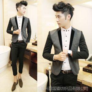 供应2013新款潮男秋装西装帅气男青年韩版修身格子时尚长袖西服外套男