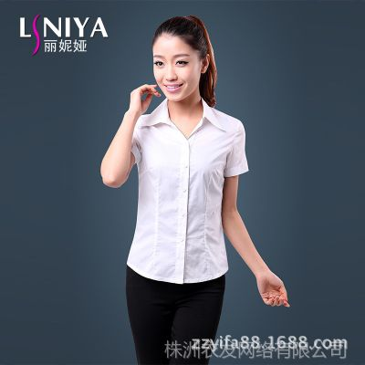 2014春装新款职业装女装纯棉衬衫女短袖OL通勤修身白色女士衬衣