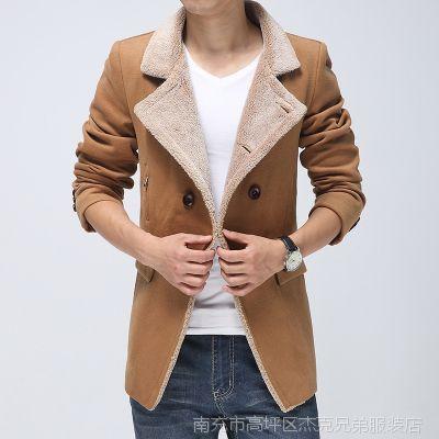 男式双排扣连帽毛呢大衣男 男士呢子大衣风衣批发 大口袋羊绒大衣