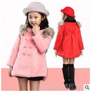 2014冬季童外套新款 兔毛女童风衣外套 韩版女童呢子大衣童外套