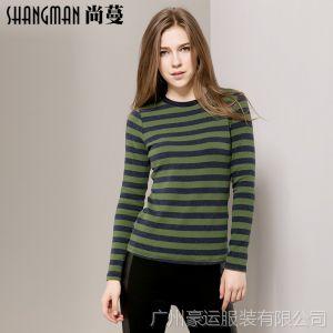 供应厂家直销 秋装新款女士长袖打底衫棉 圆领条纹t恤 T806