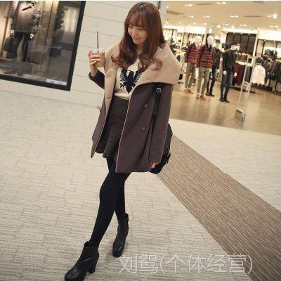 2014新款秋冬气质修身女装韩版中长款毛呢外套女大衣