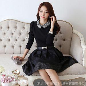 供应2013秋冬季新款韩版女修身连衣裙娃娃领长袖气质连衣裙
