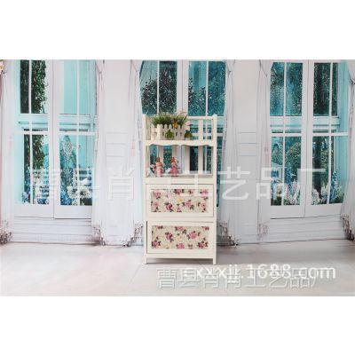 厂家直供彩绘木制家具 双层抽屉带置物架客厅玄关柜 欧式玄关柜