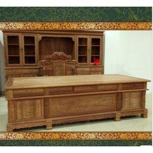 供应东阳木雕 缅甸花梨木山水书桌椅 书柜组合 实木书桌 红木家具