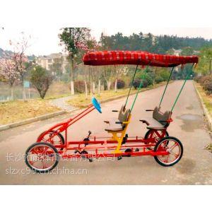 供应森林人 联排通座双人自行车 四人四轮情侣车 带棚