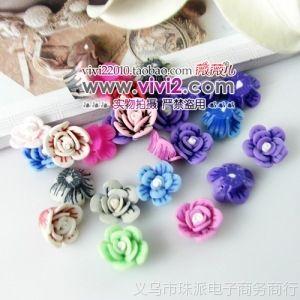 软陶花 软陶饰品 diy串珠材料  散珠珠子 15mm白芯拉丝花-混色