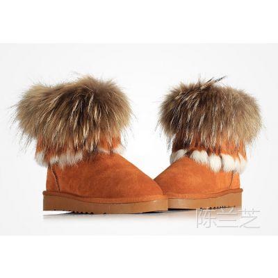 儿童雪地靴女童雪地靴真皮冬款男女童靴童鞋毛绒短靴中筒棉靴