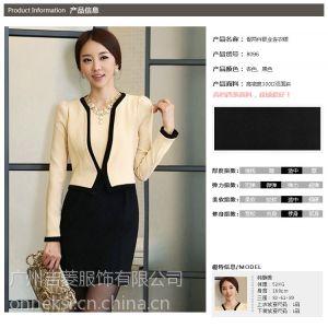 供应时尚工装职业假两件撞色外套连衣裙 秋冬办公服女式套装8096