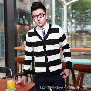供应时尚男士V领长袖针织开衫 韩版修身男装开衫 男式条纹针织衫