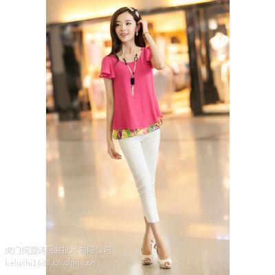 供应厂家直销便宜服装地滩货源韩版女装夏装短袖女式上衣圆领印花t恤