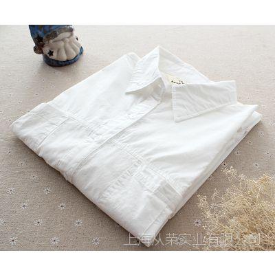 韩国秋装新款2014全棉白色衬衫OL气质女宽松长袖2个口袋上衣衬衣