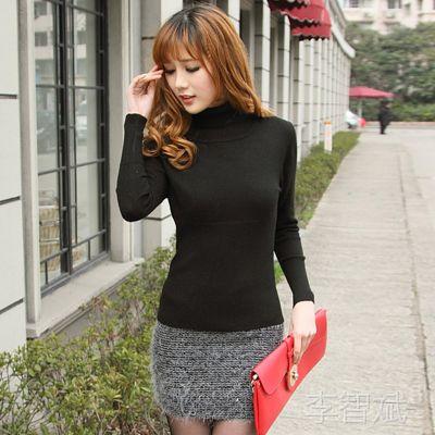 2014新款女式毛衣韩版简约纯色高领羊毛羊绒毛衣罗纹打底衫女批发